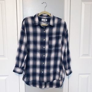🌿 3/$15 Sale! Old Navy Boyfriend Plaid Button Up